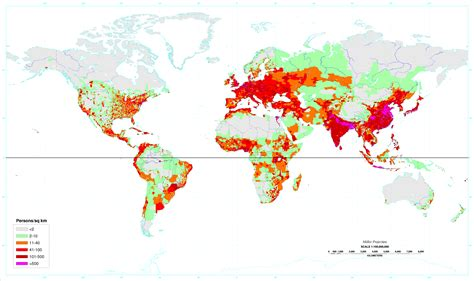 world city population map world s population density in persons per square kilometer