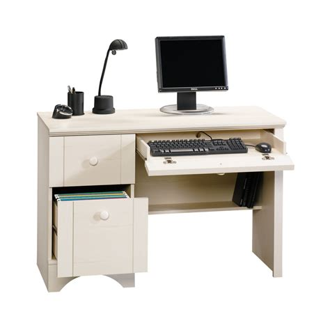 shop sauder harbor view antiqued white computer desk at