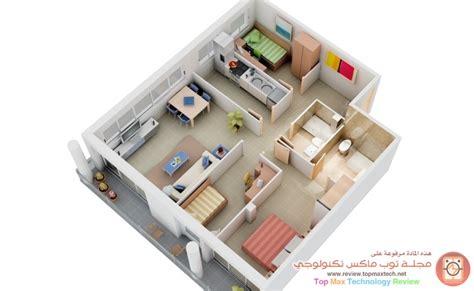 three room house plan مخططات شقق معاصرة في الشقة 3 ثلاث غرف نوم بحماماتها تخطيط