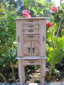 shabby chic standing jewelry armoire