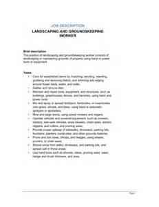 Landscaper Description Resume Groundskeeper Resume Exle Best Template Collection