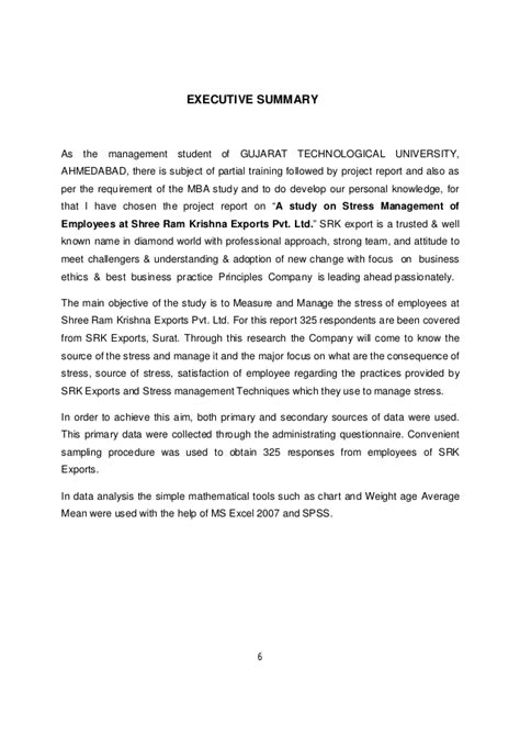 Stress Management Project Report Mba by Stress Management Of Employees At Shree Ram Krishna