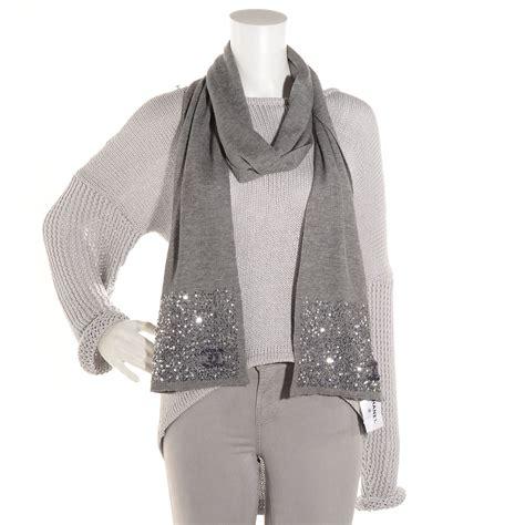 chanel silk sequin cc scarf grey
