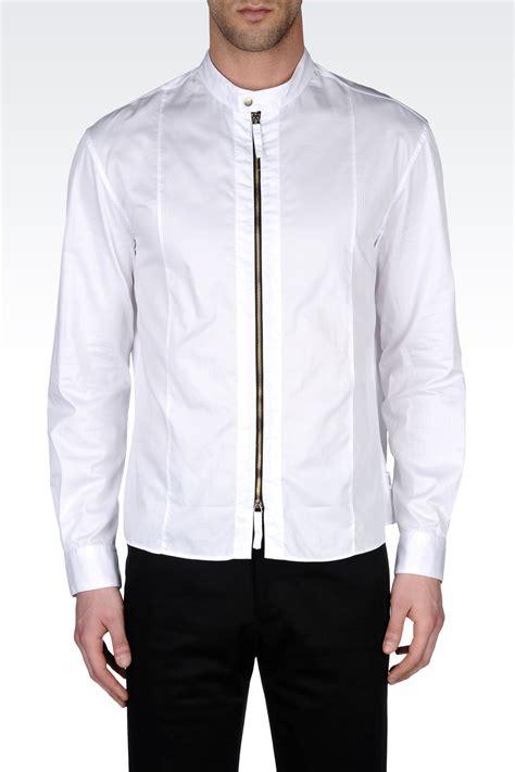 White Zipper Pocket Shirt 2 armani zip cotton shirt with mandarin collar in white for lyst
