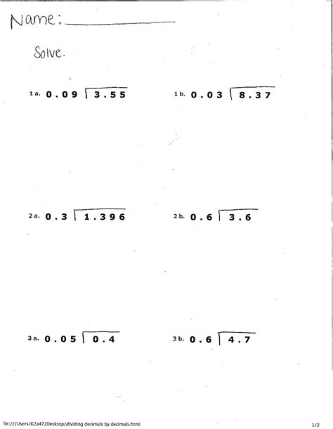 Dividing By Decimals Worksheet - Arsip.tembi.net