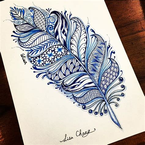 doodle paint feather zentangle with shades of blue drawings