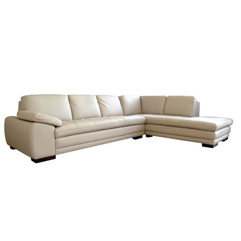 Wholesale Interiors Leather Sofa With Chaise Biege 625
