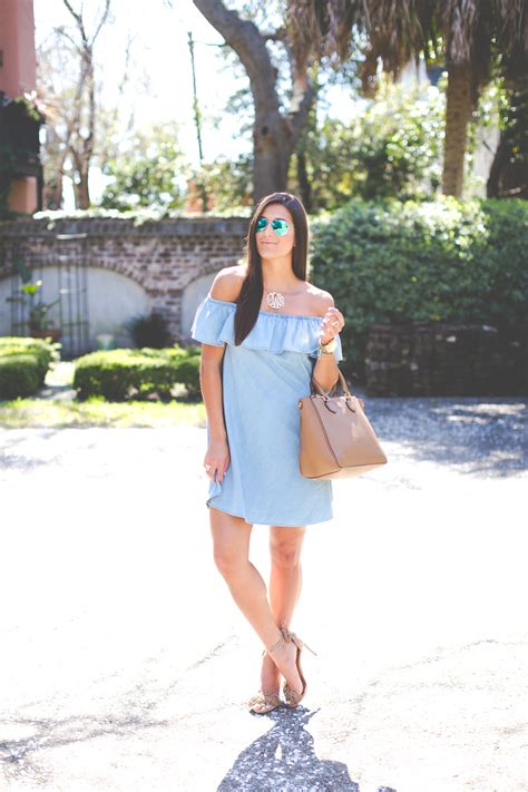 Beautiful Diy Home Decor by Chambray Off The Shoulder Dress A Southern Drawl