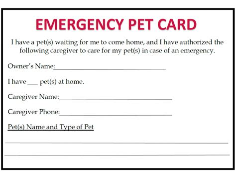 pet emergency card template emergency preparedness blue ridge humane society