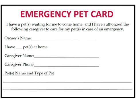Pet Emergency Card Template by Emergency Preparedness Blue Ridge Humane Society