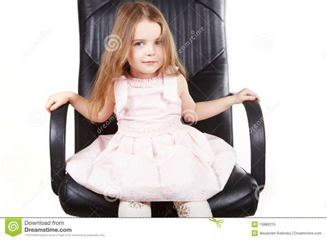 little girl on chair little girl on office chair stock image image of