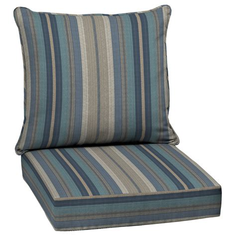 Patio Furniture With Cushions Shop Allen Roth Stripe Blue Glenlee Stripe Seat