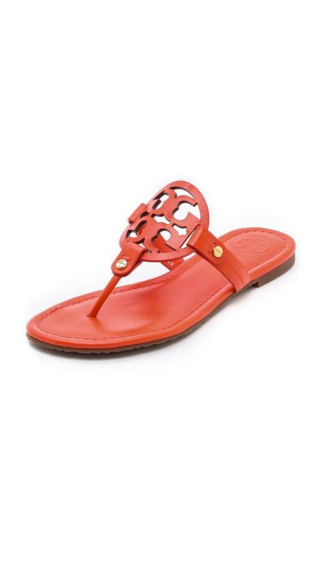 toryburch sandals burch miller logo sandals in orange tiger lyst