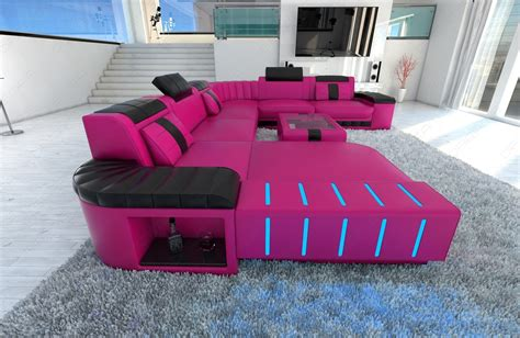 pink leather sectional xxl sectional sofa bellagio led u shaped pink black ebay