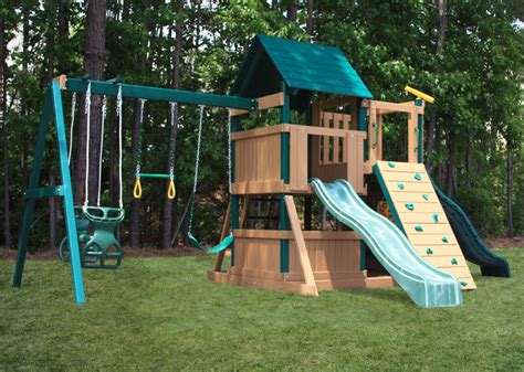lookout swing set congo safari lookout and climber playsystem green and