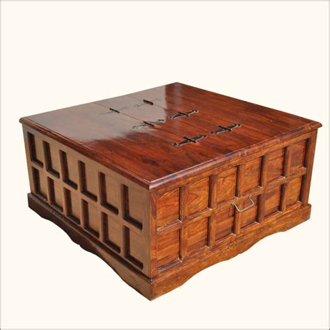 Square Coffee Tables With Storage Mission Solid Wood Square Coffee Cocktail Table Storage Trunk Chest Furniture Ebay