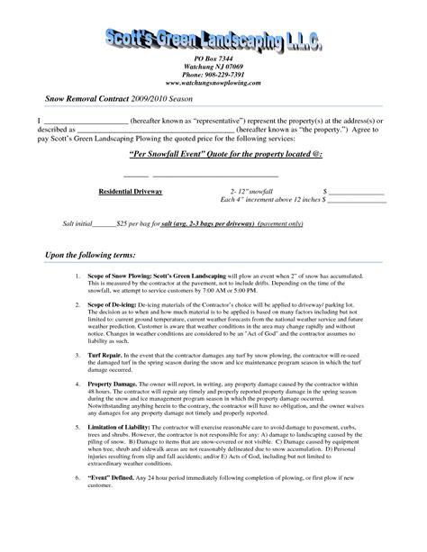 Contracts Quotes Quotesgram Snow Removal Quote Template