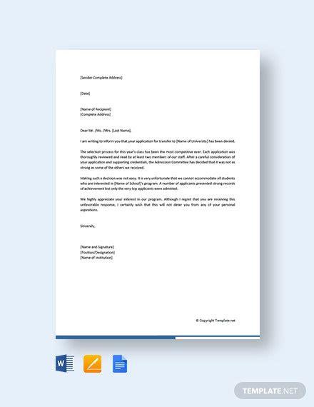 college transfer application rejection letter