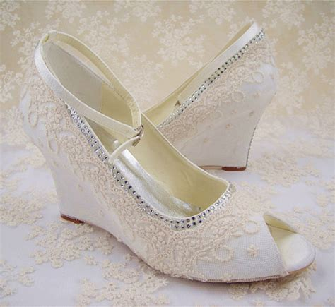 ivory lace wedge wedding shoes tbrb info