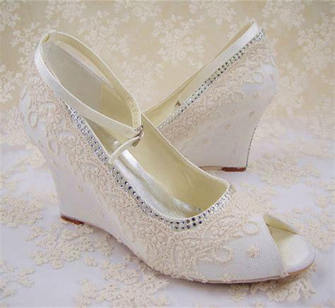 Lace Wedge Bridal Shoes by Lace Wedding Shoes Peep Toe Bridal Shoes Rhinestone