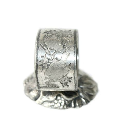 antique silver plate birds standing napkin ring