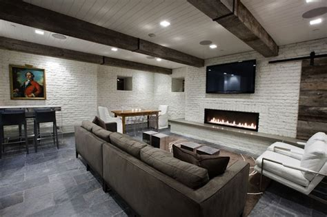 How To Paint Over Wood Paneling by Basement Tv Room Transitional Basement Washington