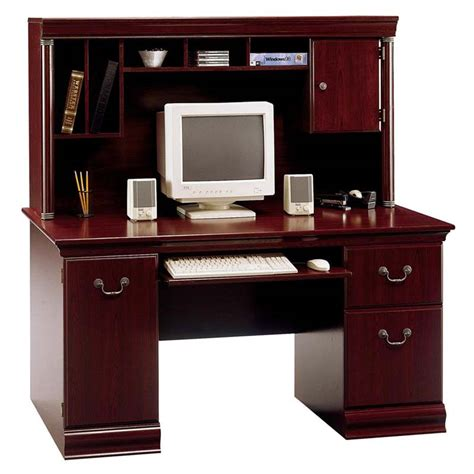 desks with hutch bush birmingham collection 60 executive desk with hutch harvest cherry wc26620 03