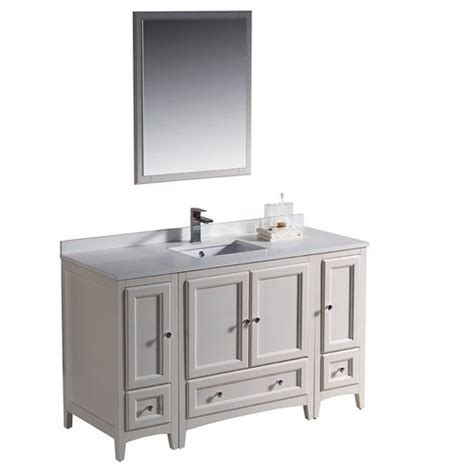 Traditional Bathroom Vanities And Cabinets Fvn20 123012aw Fresca Oxford 54 Quot Antique White Traditional Bathroom Vanity W 2 Side Cabinets