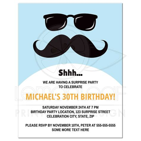 quot sweet surprises quot birthday printable card blue incognito mustache and sunglasses surprise birthday party