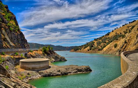 lake berryessa spillway monticello dam morning spillway napa california