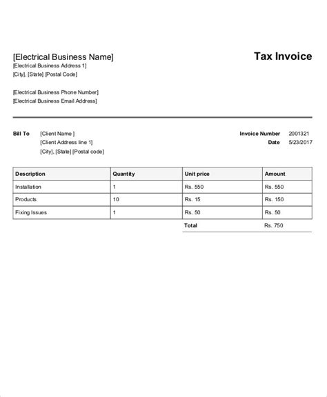 electrical invoice template free 4 electrical invoice templates free sle exle