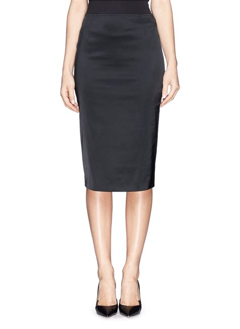 st structured satin pencil skirt in black lyst