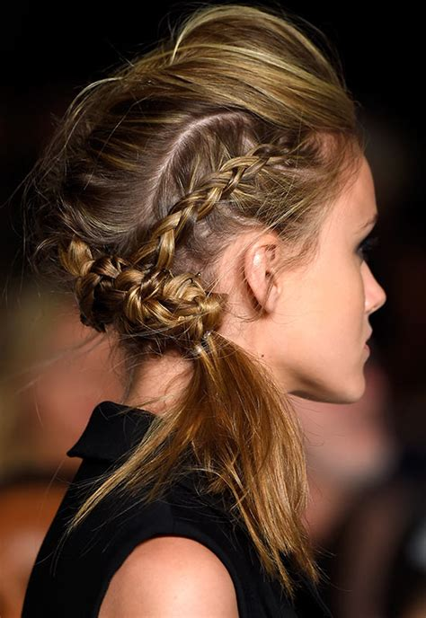 braided pompadour hairstyle pictures runway beauty smoky eye at marissa webb spring summer