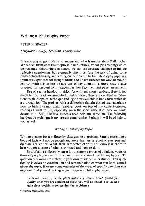 Philosophy Essay by Writing A Philosophy Paper H Spader Teaching Philosophy Philosophy Documentation Center