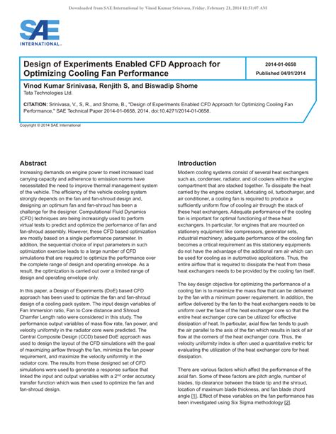 design experiment pdf design of experiments enabled cfd pdf download available