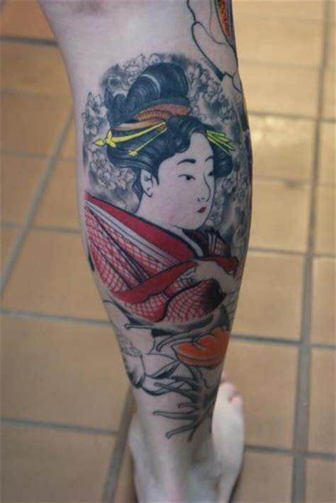 geisha tattoo calf calf japanese geisha tattoo by iron age tattoo
