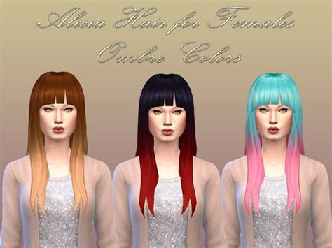 sims 4 ombre hair sims 4 hairs notegain alicia hairstyle ombre colors