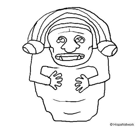 imagenes de penachos aztecas para colorear dibujo de estatua demonio maya para colorear dibujos net