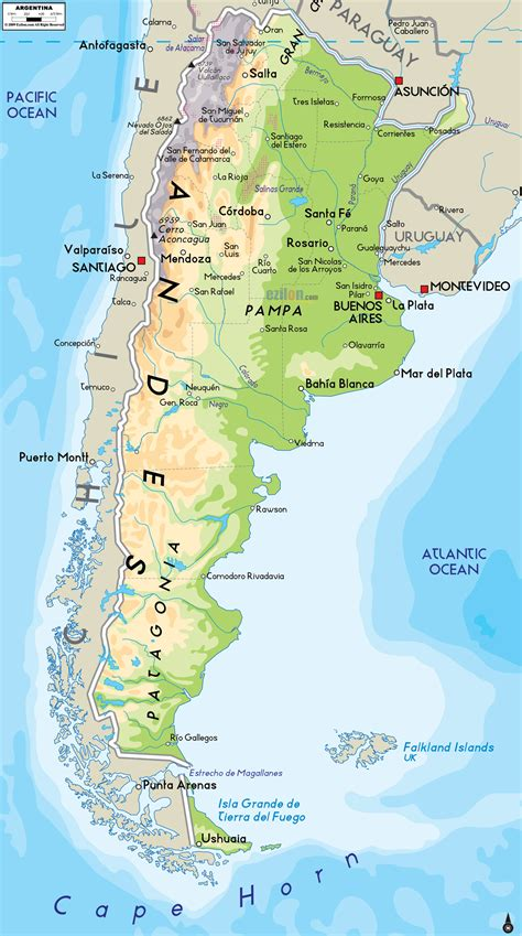 map of argentina with cities large detailed physical map of argentina with cities