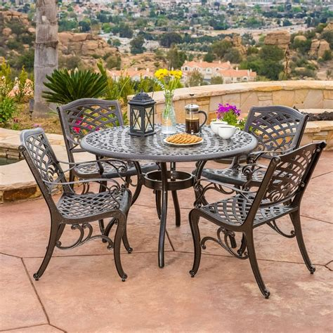 Weatherproof Patio Furniture Sets Outdoor Patio Furniture 5pcs Bronze Cast Aluminum Dining Set Ebay