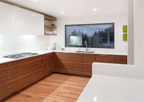 modern light walnut kitchen cabinets high gloss white grain matched walnut cabinets white