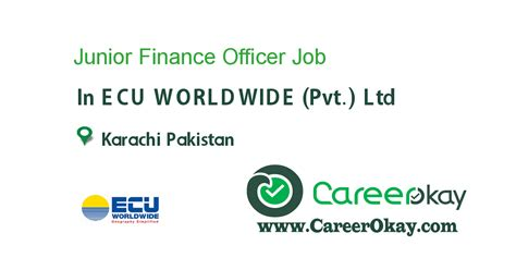 Mba Finance Salary Per Month by Junior Finance Officer In Ecu Worldwide Pvt Ltd In