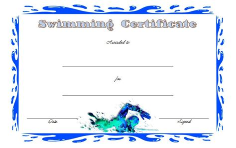 swimming certificates templates swimming certificate template best 10 templates