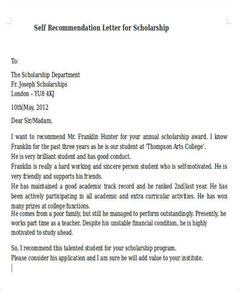 8 Self Recommendation Letter Sles Pdf Doc Letter Of Recommendation For Yourself Template