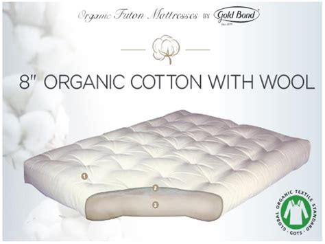futon organic 8 quot organic cotton wool futon mattress by gold bond 299