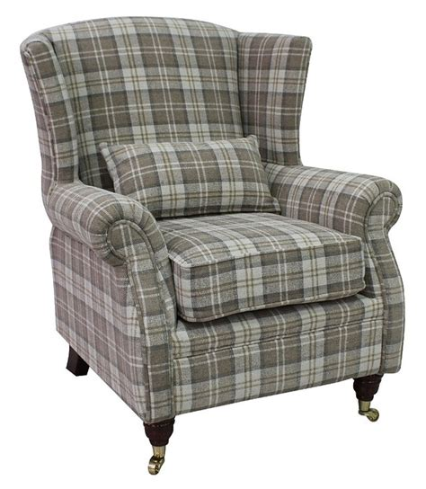 check armchair check fabric high back wing chair chairs armchairs