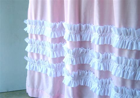 pink ruffle shower curtain perfect in pink shower curtainpink with white ruffles
