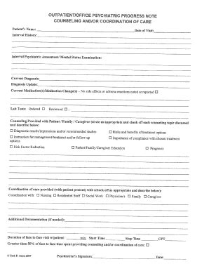 Psychiatric Progress Note Fill Online Printable Fillable Blank Pdffiller Progress Note Template For Mental Health Counselors