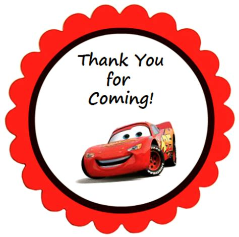 lightning mcqueen thank you cards printable disney cars party favors