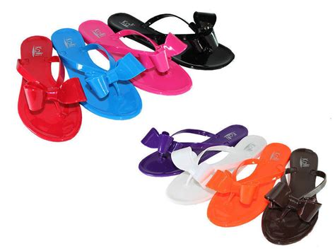 Jelly Shoes Anak Ribbon Jelly Shoes Ribbon new summer jelly ribbon bow flip flop flat sandals slipper shoes ebay